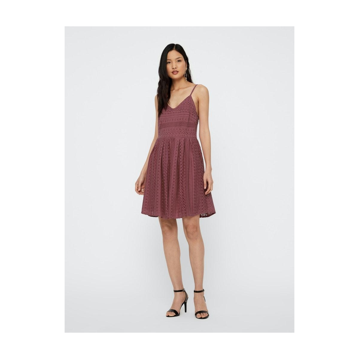 vmhoney lace pleated singlet dress 10220925 vero moda jurk rose brown
