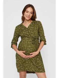 Mama-Licious Positie jurk MLLEVETTA LIA 3/4 WOVEN ABK DRESS2F 20011310 Olivine/AOP