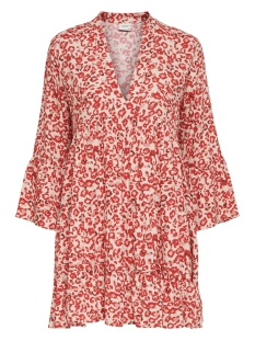 JDYCHAR 7/8 DRESS WVN 15219591 Cloud Dancer/RED LEO