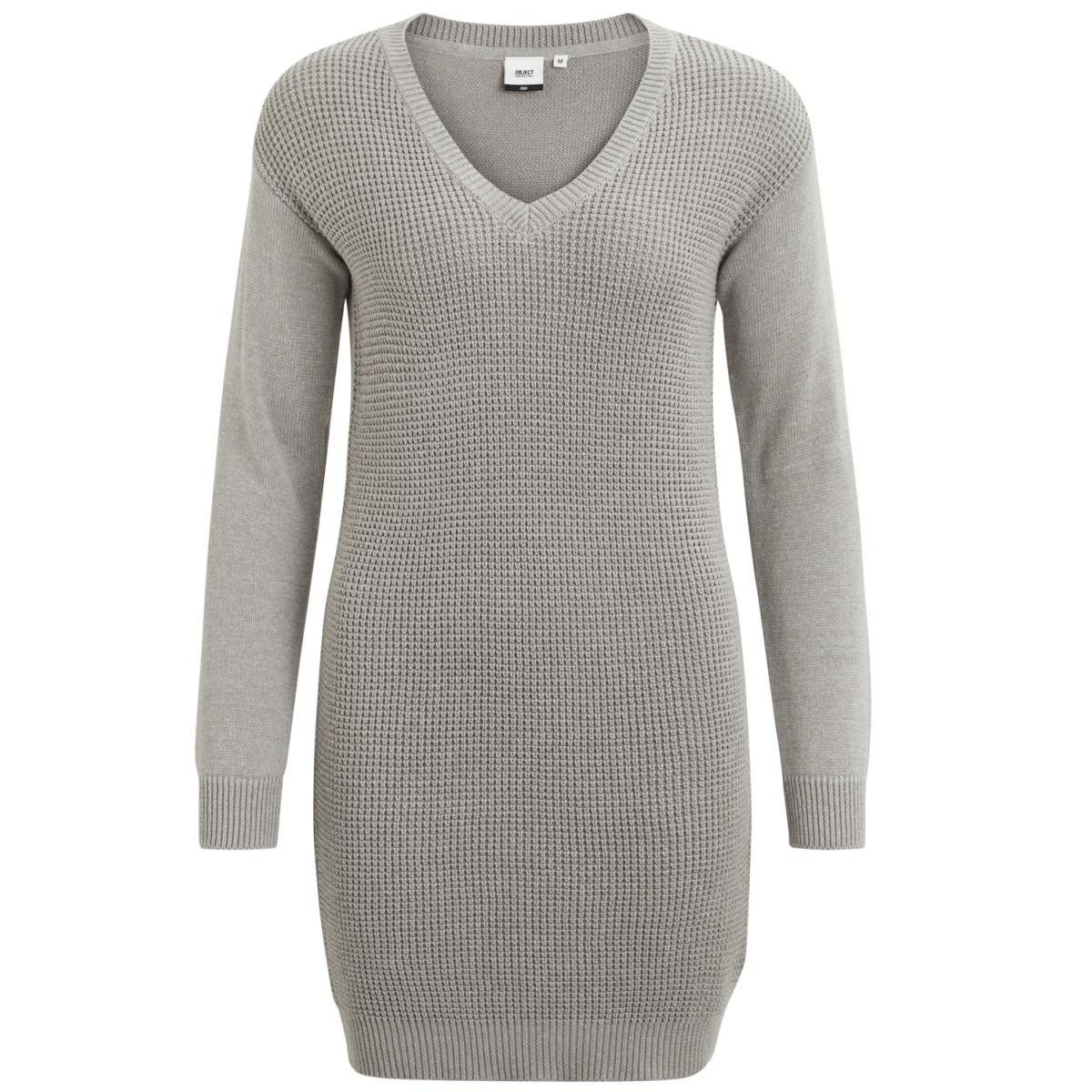 objdeah l/s knit dress 86 .i 23023274 object jurk light grey melange