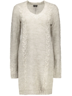 Vila Jurken VIRIVA L/S CABLE KNIT DRESS 14037720 light grey melange