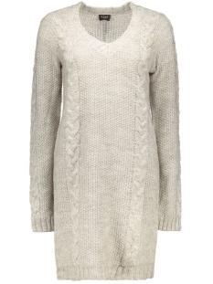 Vila Jurk VIRIVA L/S CABLE KNIT DRESS 14037720 light grey melange