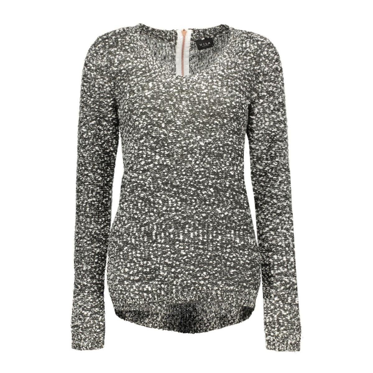 vilika l/s knit top 14035633 vila trui ebony