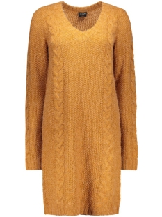 viriva l/s cable knit dress 14037720 vila jurk roasted pecan