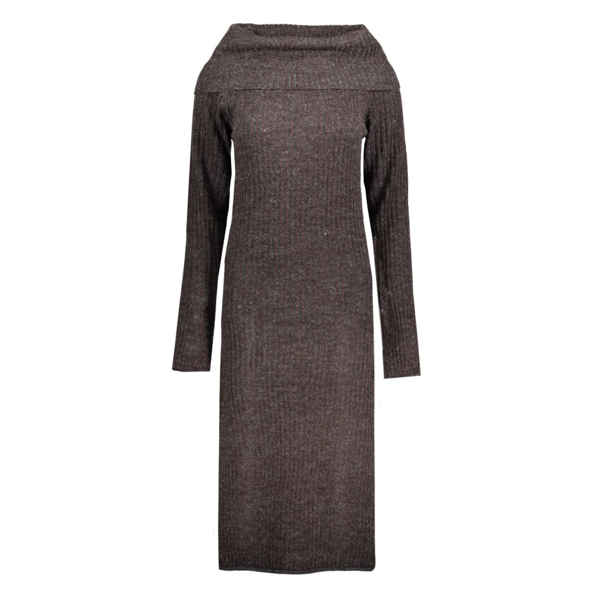 virib l/s knit dress 14036833 vila jurk plum/chocolate