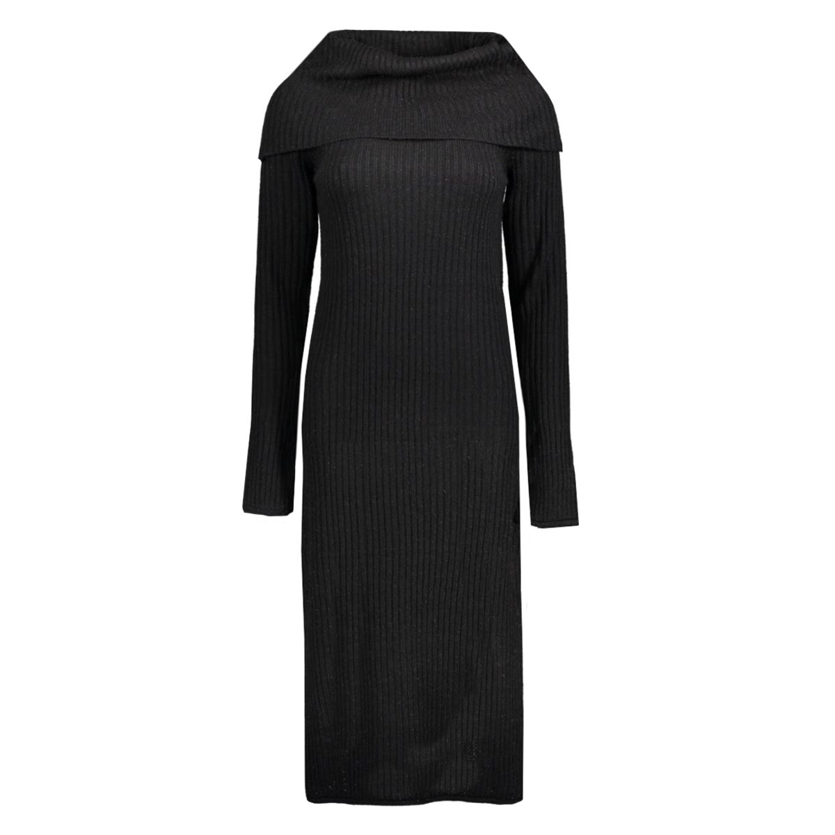 virib l/s knit dress 14036833 vila jurk black