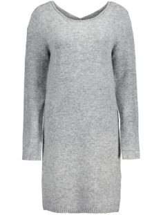 Object Jurk OBJCANDY L/S SHORT KNIT DRESS Light Grey Melange