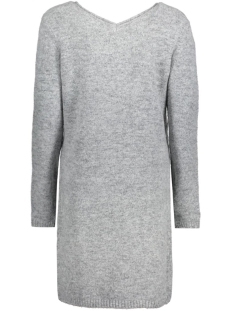 objcandy l/s short knit dress object jurk light grey melange