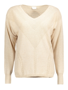 Vila Trui VICOTANA L/S POINTEL KNIT TOP 14038577 Shifting Sand