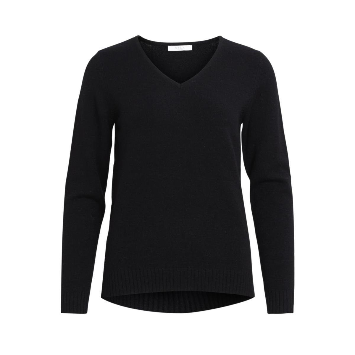 viril l/s v-neck knit top-noos 14042769 vila trui black