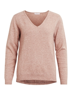 viril l/s v-neck knit top-noos 14042769 vila trui rose dawn/melange