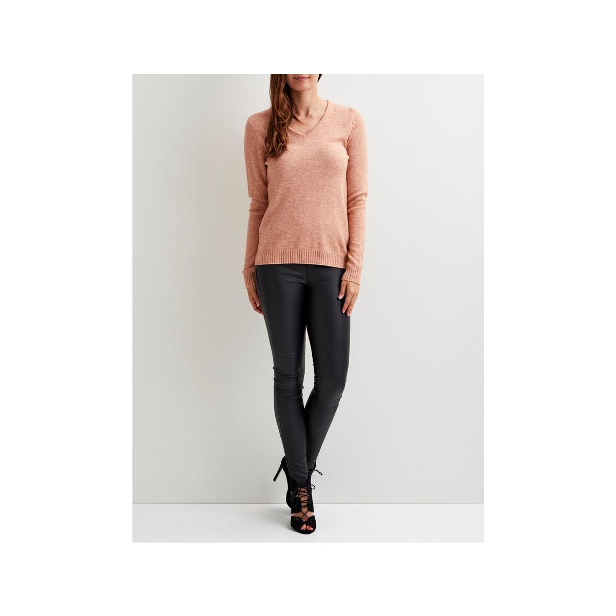 viril l/s v-neck knit top-noos 14042769 vila trui rose dawn/melange