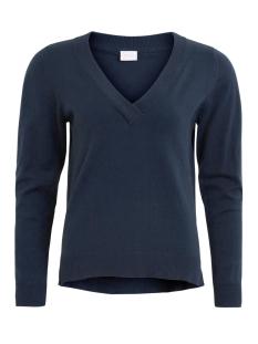 vibekka v-neck knit top tb 14042912 vila trui dark navy
