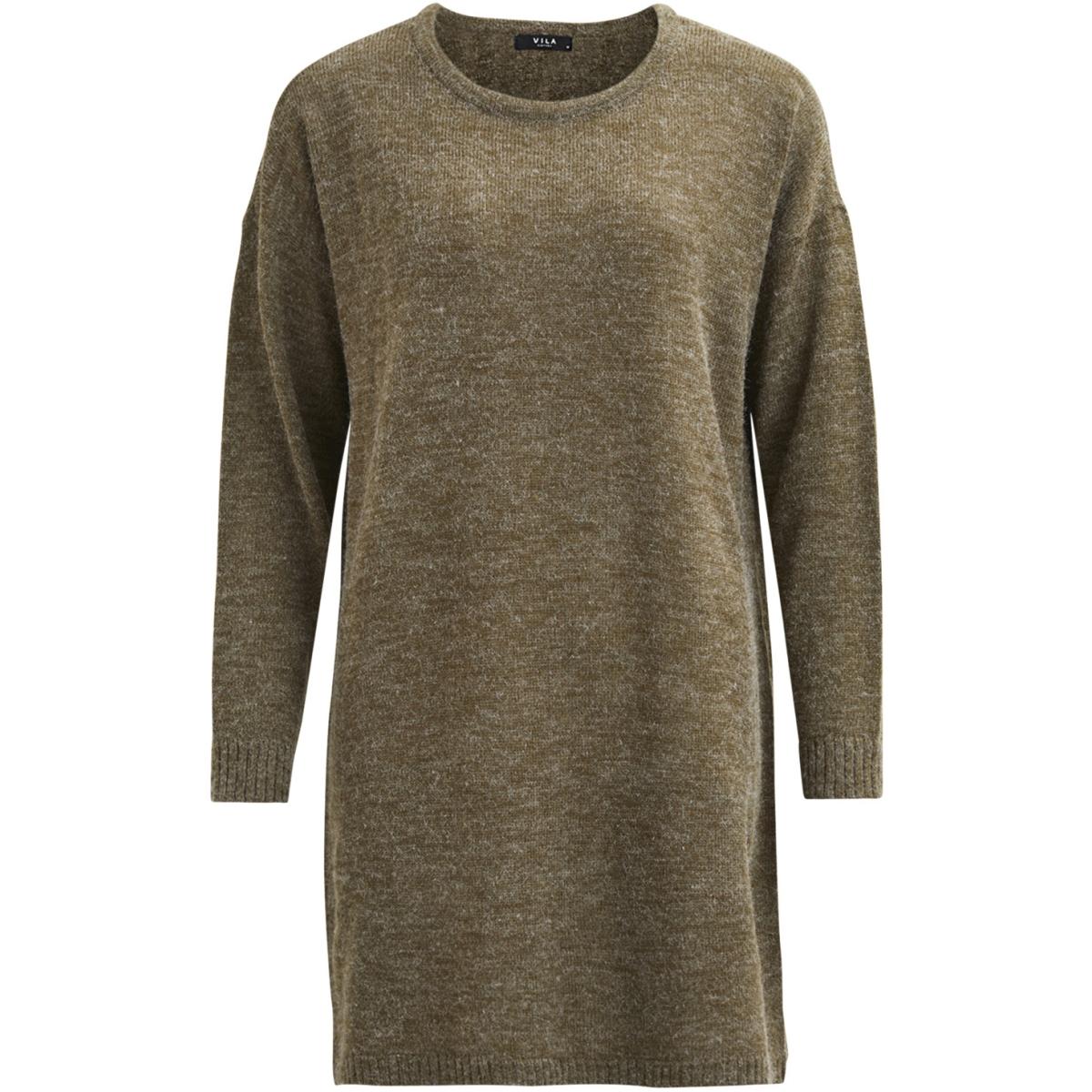 viriva l/s knit dress-noos 14029147 vila jurk ivy green/melange