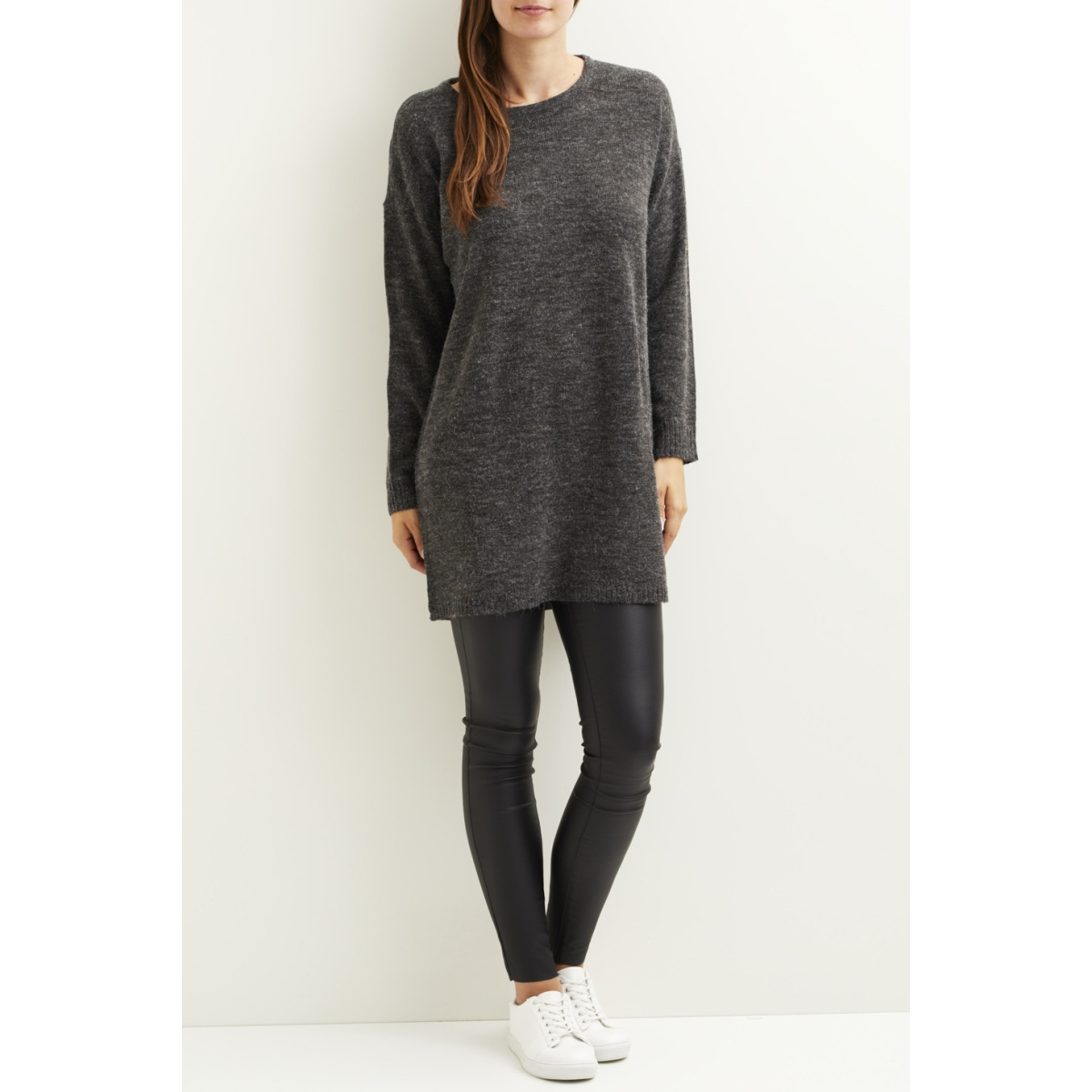 viriva l/s knit dress-noos 14029147 vila jurk dark grey melange