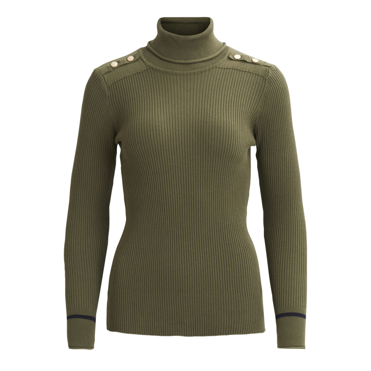 visoldana l/s knit top gv 14042244 vila trui ivy green/dark navy