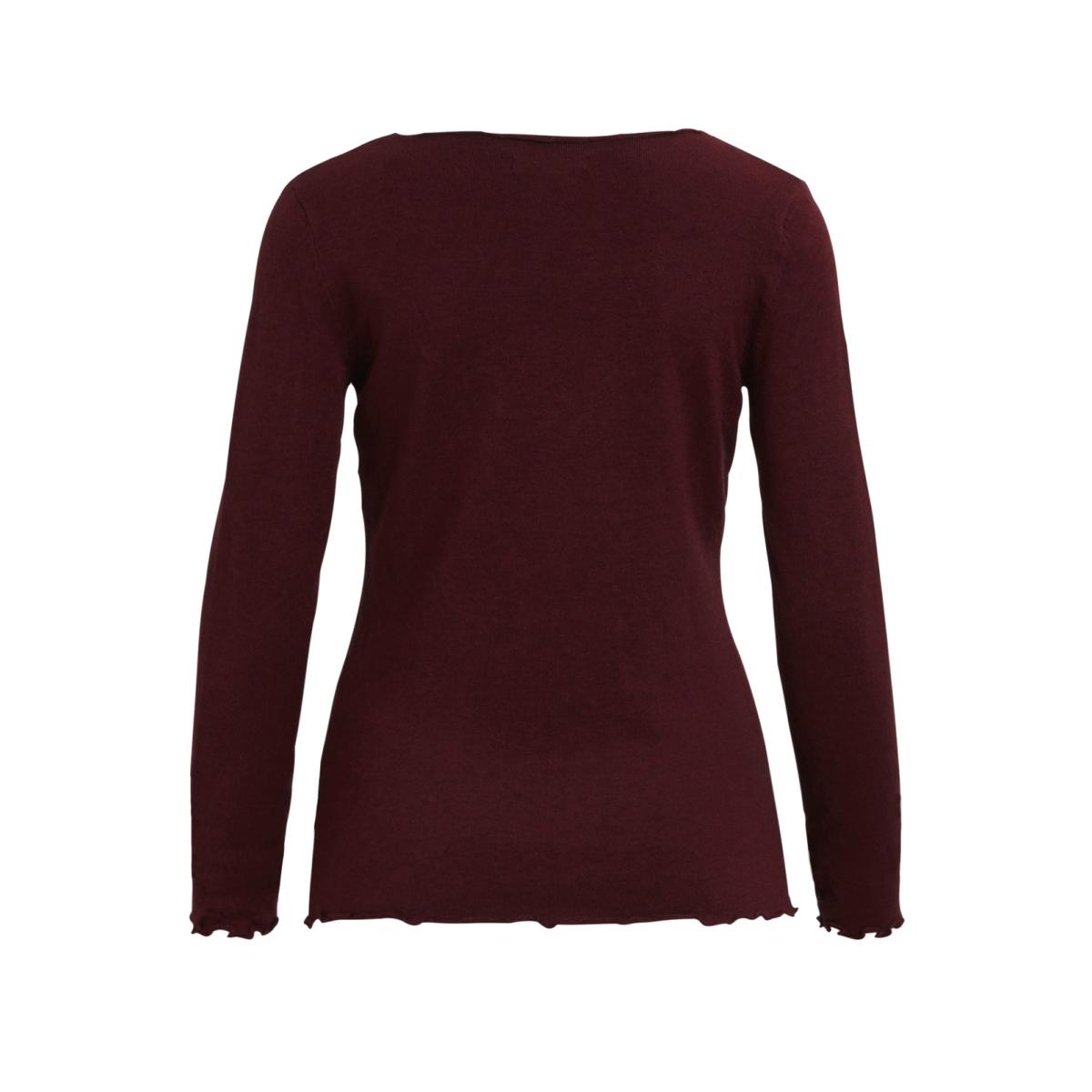 visabrine l/s  knit top 14042894 vila trui cabernet/black melange