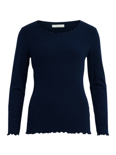 visabrine l/s  knit top 14042894 vila trui dark navy/black melange
