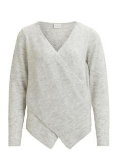 vicant wrap knit top-noos 14043009 vila trui light grey melange