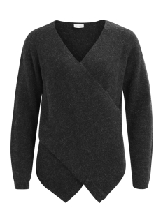 vicant wrap knit top-noos 14043009 vila trui dark grey melange