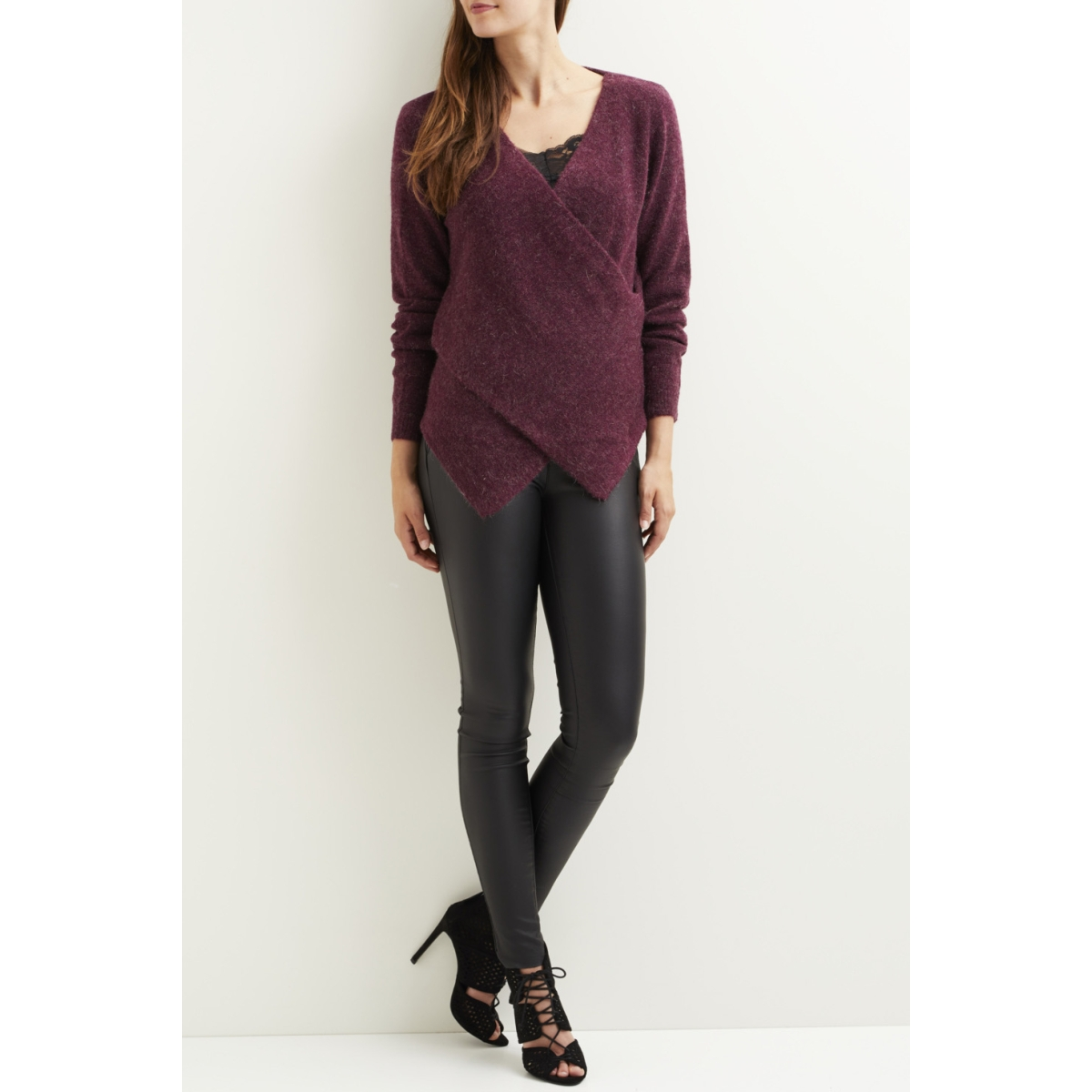 vicant wrap knit top-fav 14043488 vila trui fig/melange