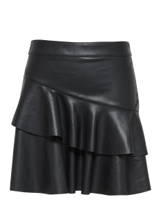 Only Rok onlEMMA FAUX LEATHER FRILL SKIRT OT 15145151 Black