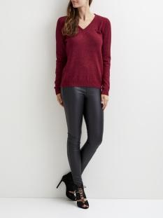 viril l/s v-neck knit top-fav 14043283 vila trui cabernet/melange