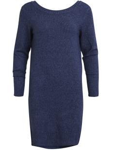 Vila Jurk VISPECIFIC L/S KNIT DRESS 14043861 Dark Navy/White Mela