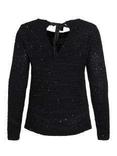 viminty l/s ribbon knit top 14043815 vila trui black/w. black s