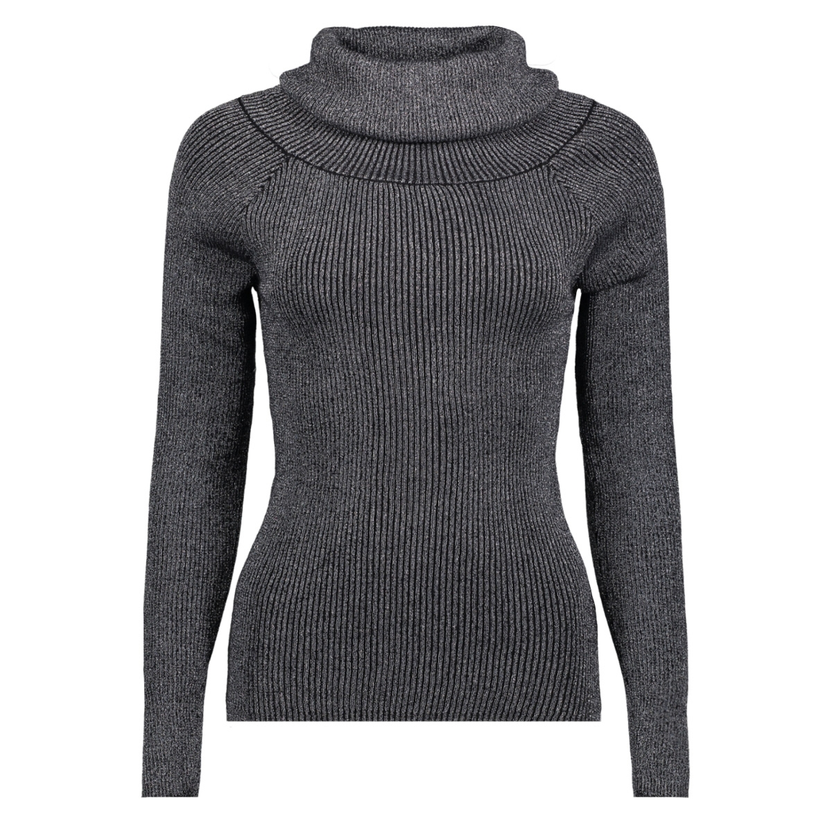vivenna l/s offshoulder knit top 14043817 vila trui black/silver lur