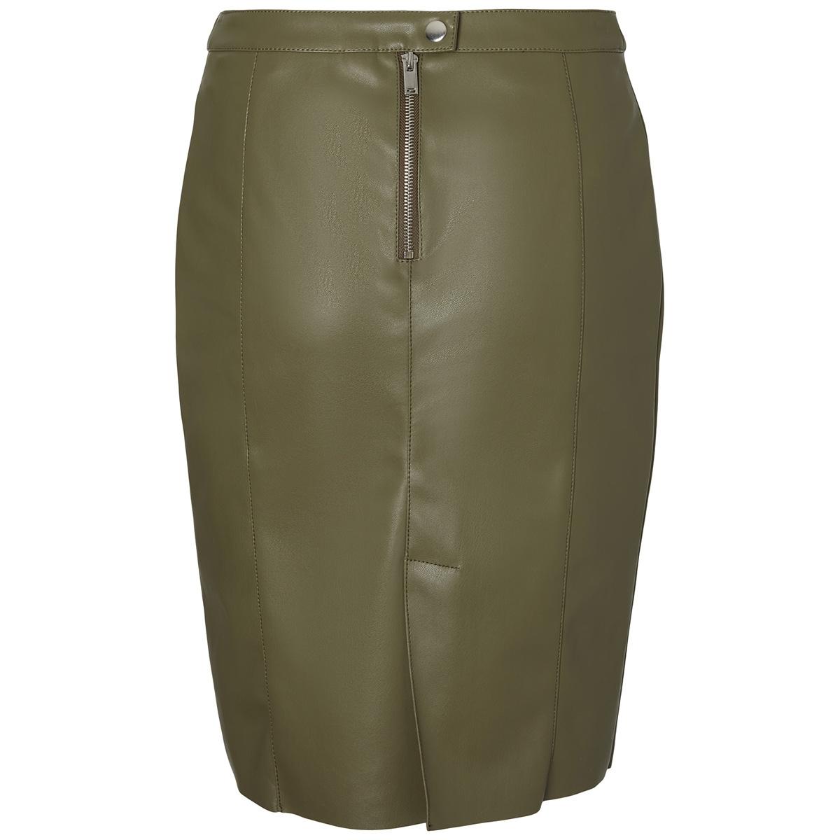 vmnetta butter hw faux leather skirt 10199427 vero moda rok ivy green