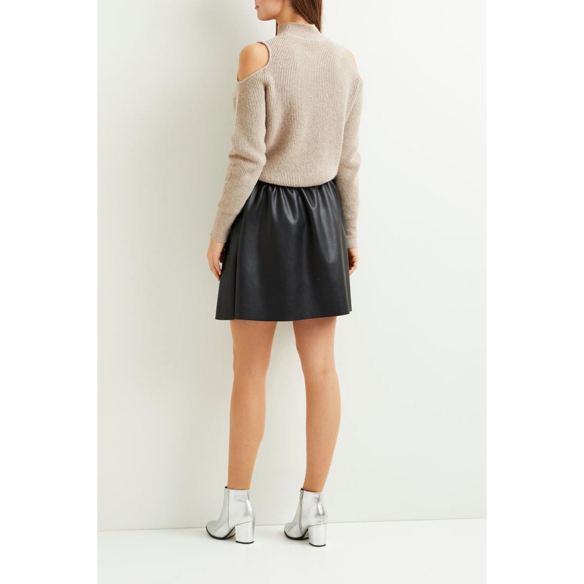 viemma faux leather skirt- noos 14044270 vila rok black