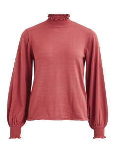 vismocka knit funnel neck l/s top 14048710 vila trui earth red