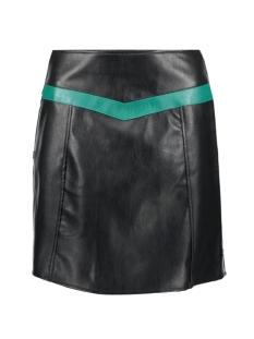 Vero Moda Rok VMCONTRAST CONNERY HW FAUX LEATHER SKIRT 10207384 Black/ALPINE GREEN