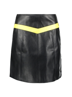 Vero Moda Rok VMCONTRAST CONNERY HW FAUX LEATHER SKIRT 10207384 Black/CREAM GOLD