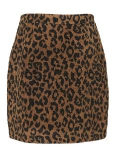 vmjana leopard hw zip short wool skirt 10202257 vero moda rok tabacco brown/leopard