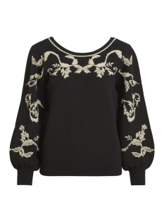 Vila Trui VIBROCADE KNIT JACQUARD L/S TOP 14048724 Black/LIGHT GOLD