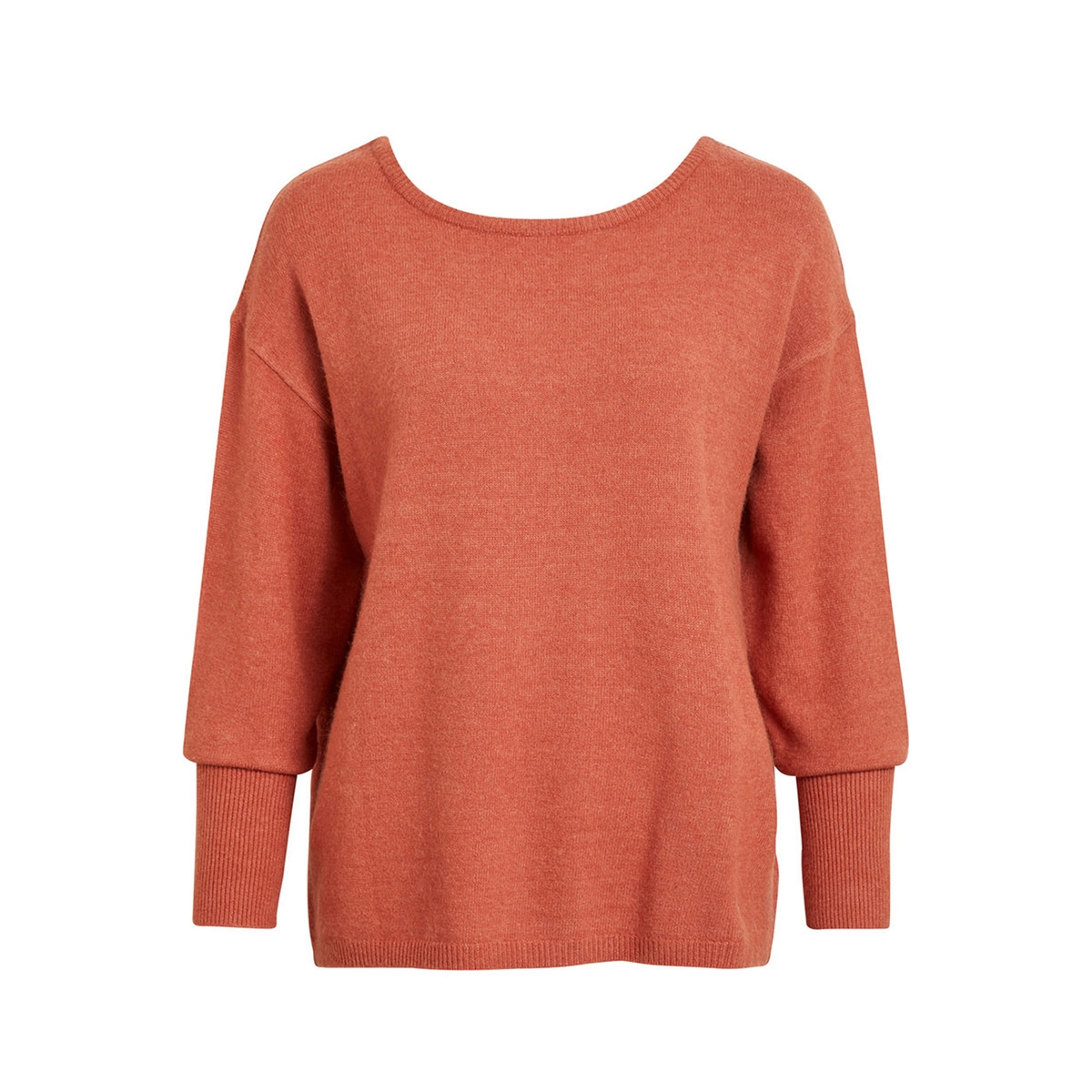 viril button knit l/s top-fav nx 14049676 vila trui redwood/melange