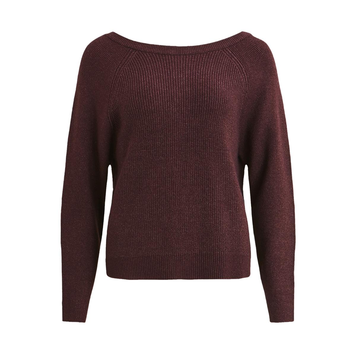 visia knit laced up back l/s top 14049174 vila trui winetasting