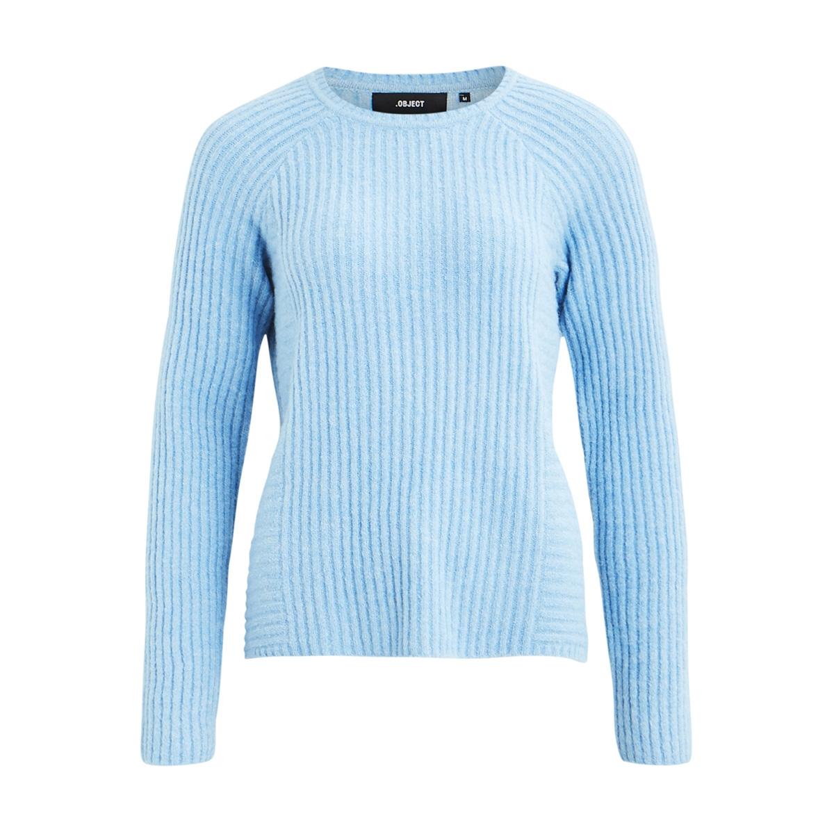 objnonsia rib l/s knit pullover sea 23027812 object trui heritage blue