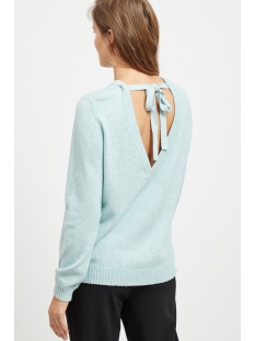 viril l/s open back knit top - noos 14048473 vila trui blue haze/melange