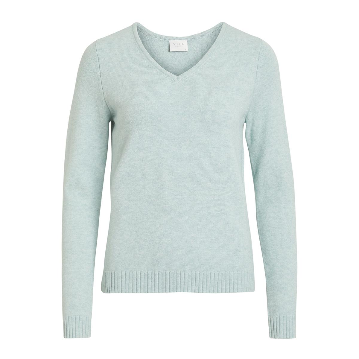 Vila Noos Hazemelange Ls V Neck Trui Blue Top Knit Viril 14042769 xwfOTnq4U0