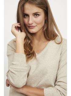 viril l/s v-neck knit top-noos 14042769 vila trui natural melange
