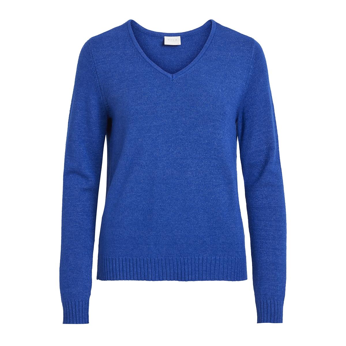 viril l/s v-neck knit top-noos 14042769 vila trui surf the web/melange