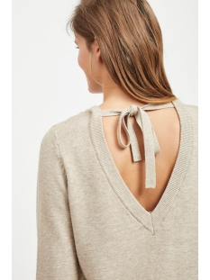 viril l/s open back knit top - noos 14048473 vila trui naturel melange