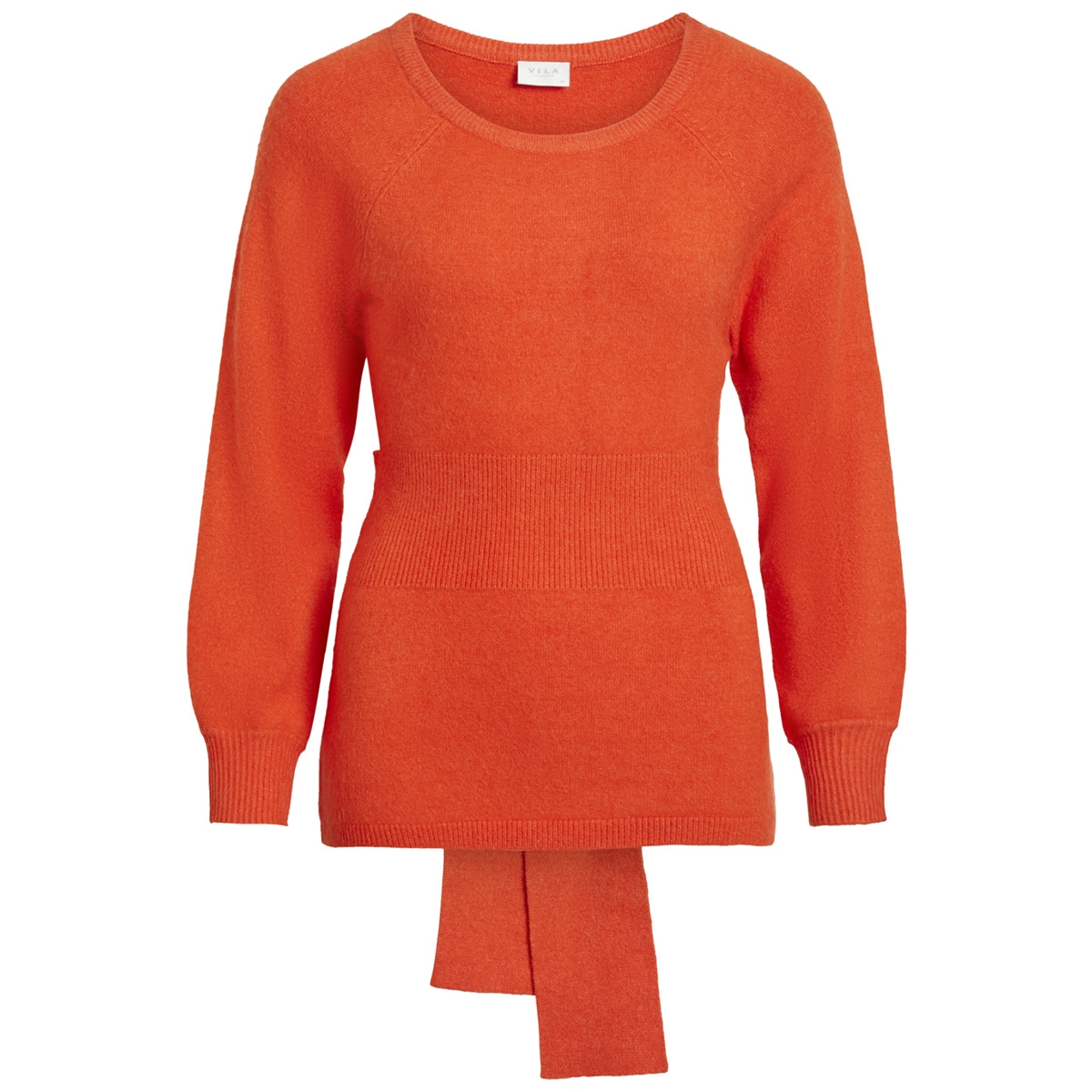 viril knit tie l/s top 14050299 vila trui cherry tomato