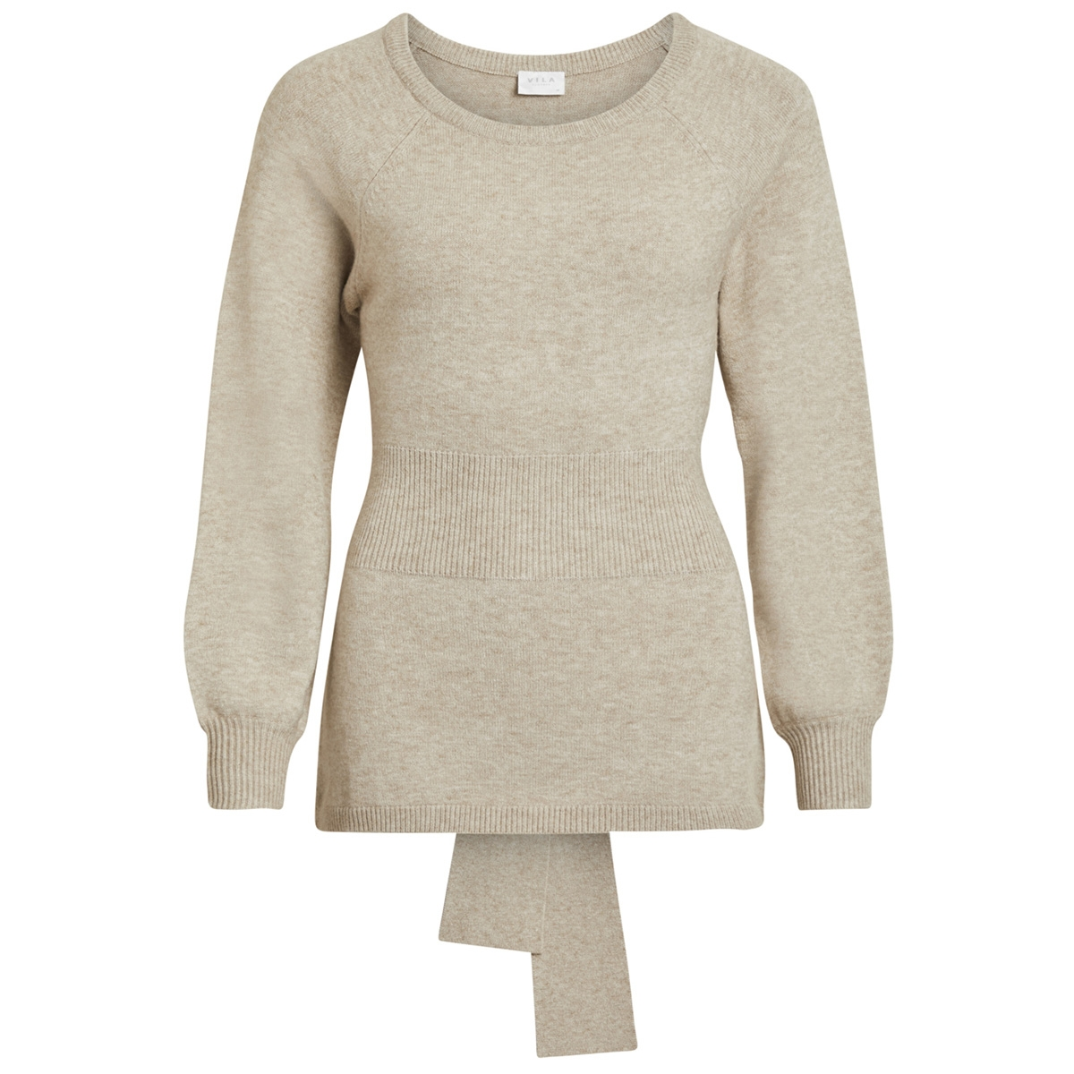 viril knit tie l/s top 14050299 vila trui natural melange