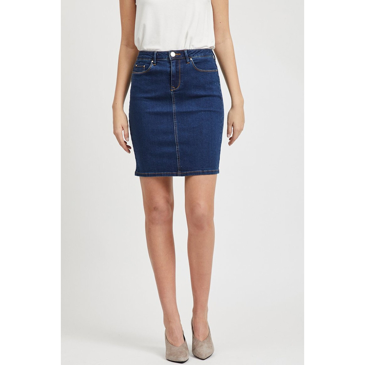 vicommit felicia short skirt v. mbd 14049875 vila rok medium blue denim
