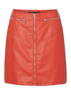 Vero Moda Rok VMSIVA CONNERY FAUX LEATHER HW SKIRT 10209386 Fiery Red