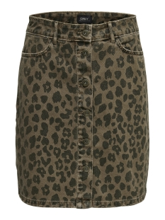 Only Rok onlFARRAH LEO DNM SKIRT 15170131 Black/LEO PRINT